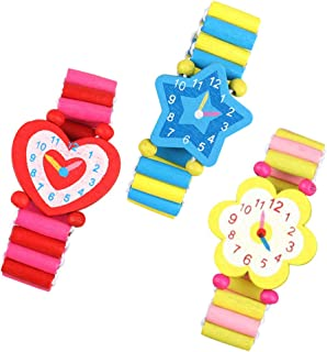 LuDa Simulation Wood Cartoon Watches Handicrafts Toys for Kids Learning Education