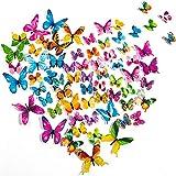 PGFUN 72 Pezzi 6 Colori 3D Luminosa Farfalle Adesivi Murale Arte Adesivo Murali per Domestica Bambini Camera Da Letto Decorazione casa(Giallo,Verde,Blu,Rosa,Viola,Multicolore)