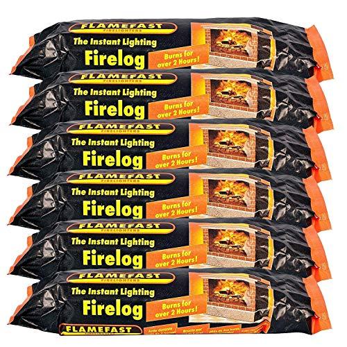 Flamefast 12 x Smokeless Firelogs Instant Lighting, Open Fire, Garden Chimineas 2hrs Burn, Environmentally Friendly
