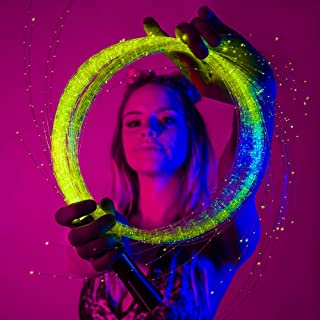 GloFX [Sparkle Fiber] Space Whip Remix - Programmable LED Fiber Optic Whip, 6 Ft 360° Swivel - Super Bright Light Up Rave Toy EDM Pixel Flow Lace Dance Festival