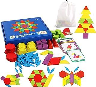 Juego de 155 bloques de madera con forma geométrica, manipulativa, rompecabezas de jardín de infancia gráfico, clásico, ed...