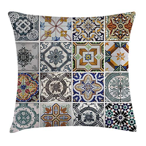 LOPEZ KENT Antique Throw Pillow Cushion Cover, Antique Classical Tiles Pattern Folkloric Art Patchwork Inspired Style Image, Decorative Square Accent Pillow Case, 18 X 18 Inches, Blue White Green