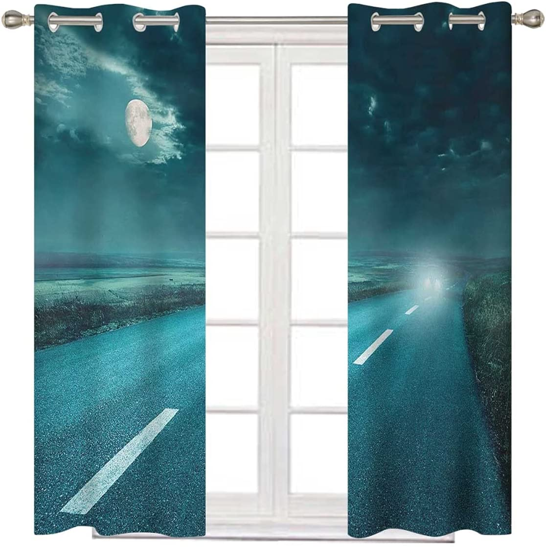 Horror House Blackout Curtain Panels New arrival 2 Long NEW before selling ☆ Blue Set Inches 63