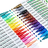 Paint Pens, Shuttle Art 30 Colors Acrylic Paint Markers, Low-Odor Water-Based Quick Dry Paint Markers for Rock, Wood, Metal, Plastic, Glass, Canvas, Ceramic