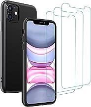 ivoler Silicone Liquide Coque pour iPhone 11 + 3X Protecteur D'écran en Verre Trempé, Silicone en Gel TPU Souple Housse Etui Coque de Protection avec Absorption de Choc et Anti-Rayure - Noir