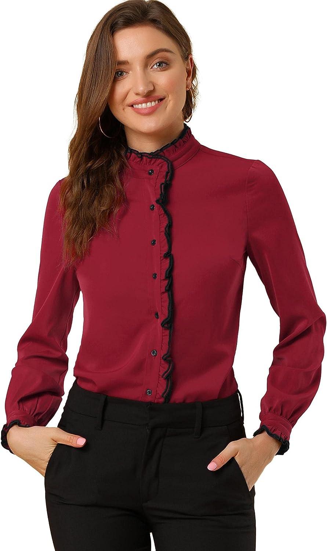 Allegra K Women's Chiffon Button Down Shirt Blouse Work Stand Collar Ruffle Neck Long Sleeve Top