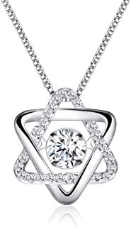 Dainty Sterling Silver Cubic Zirconia CZ Crystal Heart Pendant Necklaces for Women Girls
