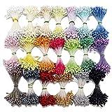 ECYC 900pcs Estambres Mixtos Aleatorios Flor Doble Estambre para Hacer Flores DIY Mini Perla Artificial Estambre Flor Pistilo