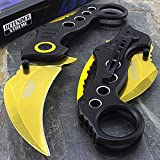 Only US 7' Gold KARAMBIT Spring Assisted Folding Tactical Pocket Knife Open Assist EDC
