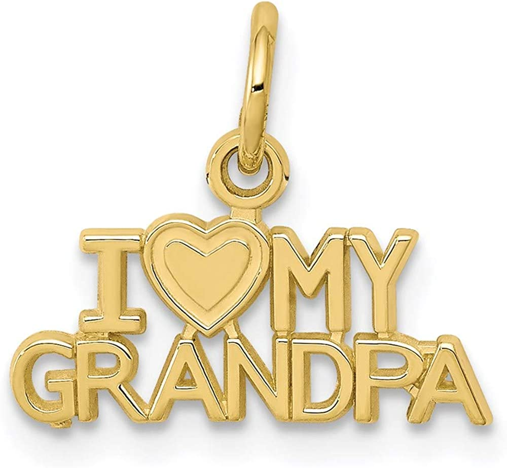 10k Yellow Gold I Love My Grandpa Pendant Charm Necklace Grpa Fine Jewelry For Women Gifts For Her