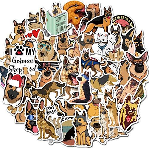 50 StüCk Deutscher SchäFerhund SüßE Hunde Wasserdichter Cartoon-Aufkleber FüR GepäCk Auto Gitarre Skateboard Telefon Laptop Fahrradaufkleber
