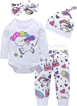 Bebé Mono, ASHOP Recién Nacido Bebé Mono Niña Impresión Romper Manga Larga Bodies Ropa Casual Jumpsuit + Pantalones + Cap + Venda 0-18 Meses (70 (0-3meses), Blanco)