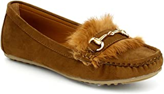The Right Pair Women's Faux Suede Slip On Fluffy Moccasin Loafer Slippers Metallic Flat Shoes BD01