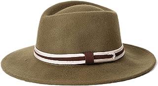 3def4d8233b DOSOMI Autumn Winter Wide Brim Fedora Men Jazz Hat Flat Brim Felt Cap Women  Wool Bowler