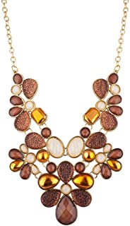 Lux Accessories Tribal Floral Bib Chunky Stone Statement Necklace