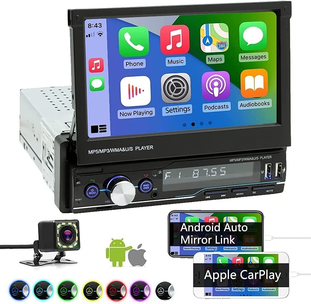 Single Din Car Stereo Compatible with Apple Carplay and Android Auto, 7 Inch Flip Out Touchscreen Car Radio with Mirror LinkBackup CameraBluetooth FM/AM USBTFAUX PortHands-Free Calling