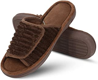 DL Men's Adjustable Open Toe Memory Foam Slippers, Men's Washable Home Indoor Slippers House Shoes Brown Size: 9-10