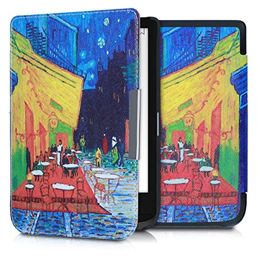 kwmobile Case Compatible with Pocketbook Touch Lux 4/Basic Lux 2/Touch HD 3 - Book Style PU Leather e-Reader Cover - Café Terrace at Night Blue/Yellow/Orange