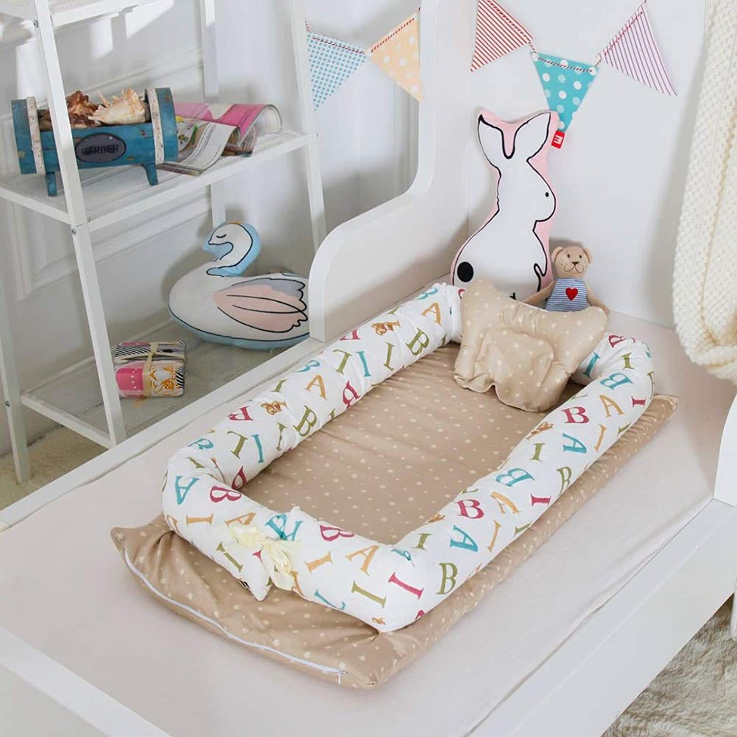 L L Baby Nest Crib Cotton Portable Newborn Isolated Bed Detachable Cover 90  55  15CM 35.4  21.7  5.9 inch, 13
