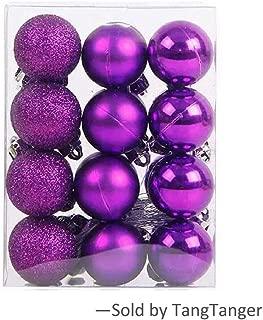 TangTanger Christmas Ball Assorted Pendant Shatterproof Ball Ornament Set Seasonal Holiday Wedding Party Decorations(24 pcs, 3 cm) (Purple)