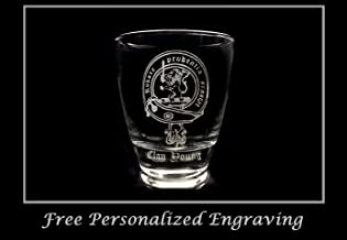 Clan Young Scottish Crest Clear Lowball Rocks Glass 10oz - Free Personalized Engraving, Celtic Decor, Scottish Glass