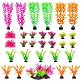Aquarium Decorations 20 Or 23 Pack Lifelike Plastic Decor Fish Tank Plants, Small to Large (30 Pack)