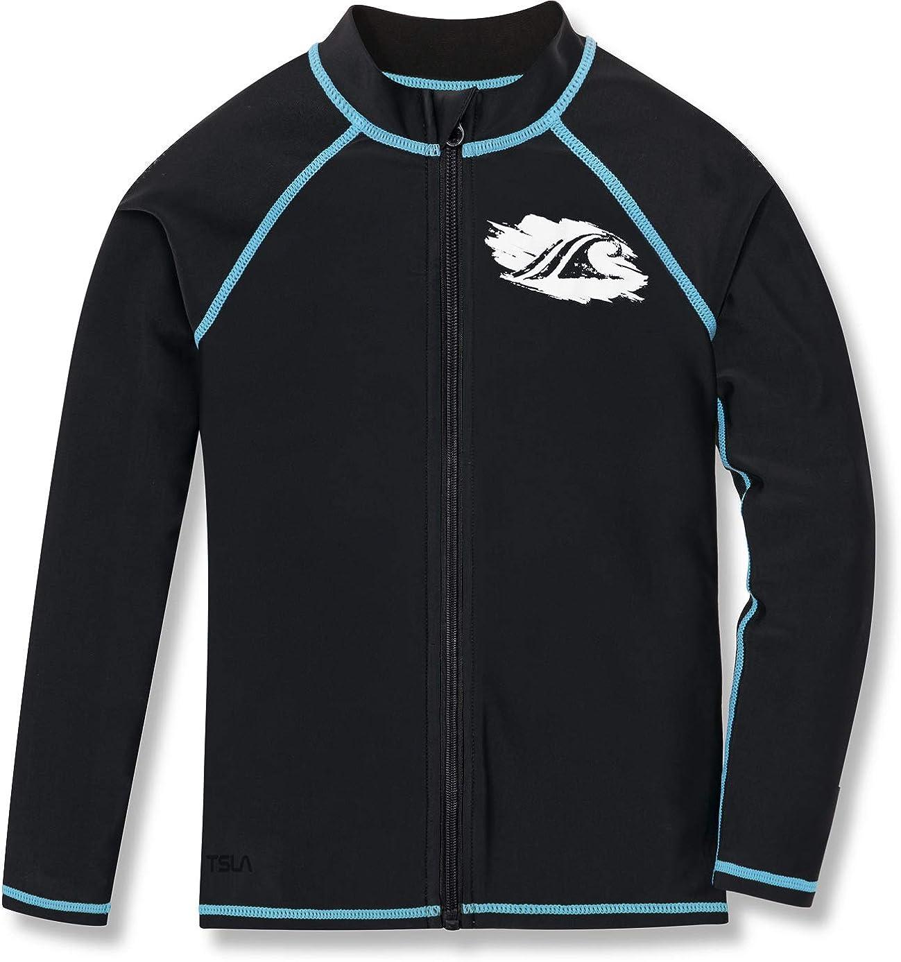 TSLA Boys' Long Sleeve Zipper Rash Guard, UPF 50+ UV/Sun Protection Swim Shirts, Quick Dry Water Swimsuit Top
