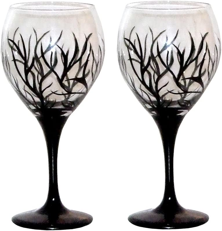 ArtisanStreet's Rapid rise Abstract Winter Design Balloon All items free shipping Set Wine Glasses.