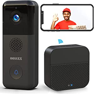 2K 3.0MP WiFi Video Doorbell Camera, OOSSXX Wireless Camera Doorbell with Chime, AI PIR Detection With Night Vision
