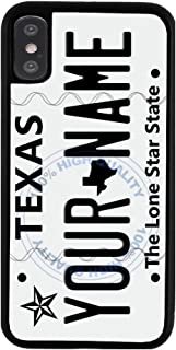BleuReign Personalized Custom Name 2016 Texas State License Plate Rubber Phone Case Back Cover for Apple iPhone X Xs Ten