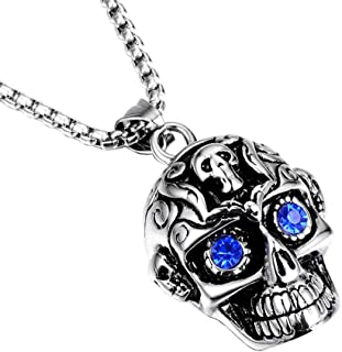 Mystart 1 Piece Punk Style Titanium Steel Crystal Diamond Eyes Skull Pendant Necklace with 55 cm Chain