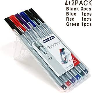 STAEDTLER Triplus Fineliner Pens 6 Color in Case, 0.3mm, Metal Clad Tip, Assorted 3-Pack