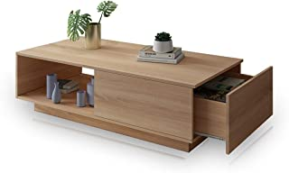 Coffee Table 1 Drawer Storage Wooden Living Room Modern Furniture Oak