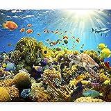 murando - Fototapete Aquarium 350x256 cm - Vlies Tapete - Moderne Wanddeko - Design Tapete - Wandtapete - Wand Dekoration - Unterwasserwelt Korallen Riff Fisch Ozean b-A-0002-a-a