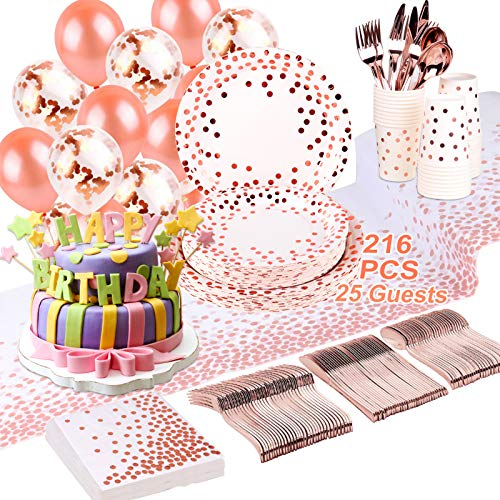 Rose Gold Party Supplies - 216 Piece Set