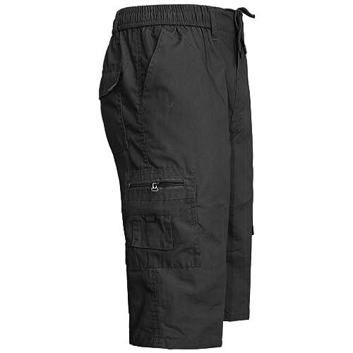 47dda13028 MENS ELASTICATED WAIST SUMMER COTTON SWIM BEACH CARGO COMBAT 3/4LONG SHORTS  PANT[Black