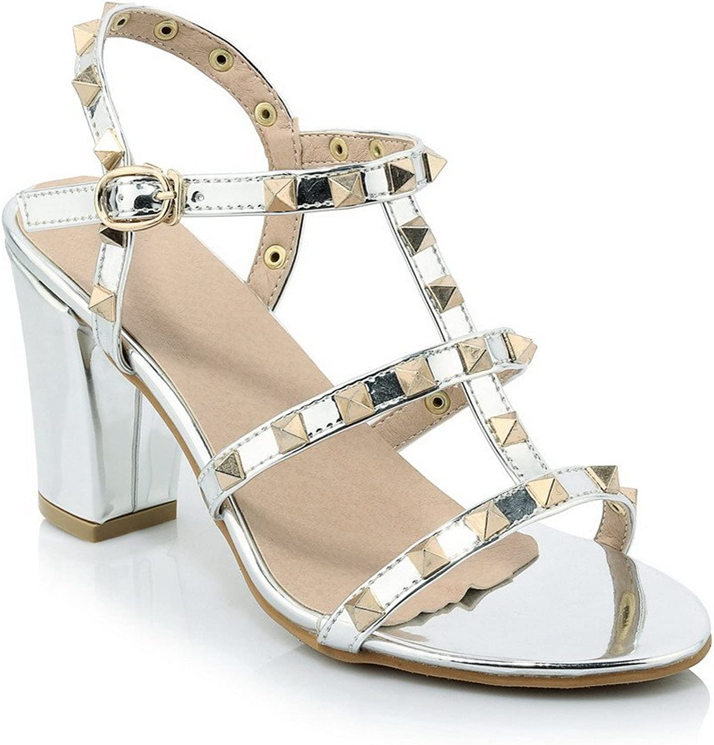 WeenFashion Women's Open Toe High Heels Assorted color Buckle Sandals