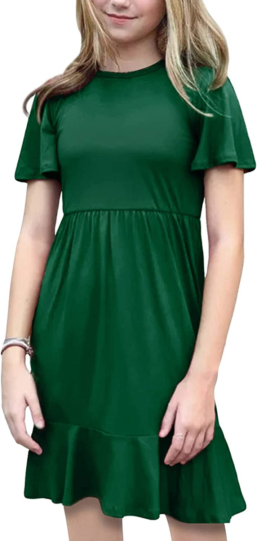 KYMIDY Girls Summer Dress Short Sleeve Casual Swing Ruffle Holiday Dress with Pockets 6-12 Years