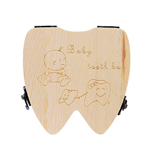 Baby Tooth Box Wooden Milk Teeth Organizer Storage Boys Girls Baby Souvenirs Gift -English Girla Drive by Baby Shower Decorations