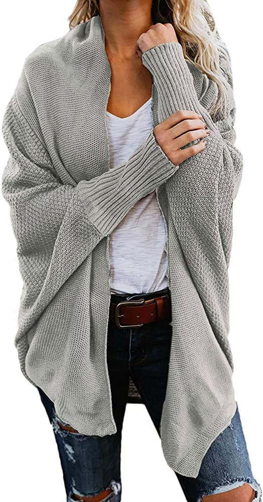 Eduavar Cardigan Sweaters for Women, Womens Open Front Cardigans Batwing Sleeve Lightweight Oversized Loose Knit Sweater