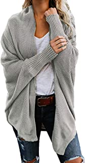 Wobuoke Womens Sweater Cardigan Autumn Winter Solid Casual Knitted Loose Long Sleeve Sweaters
