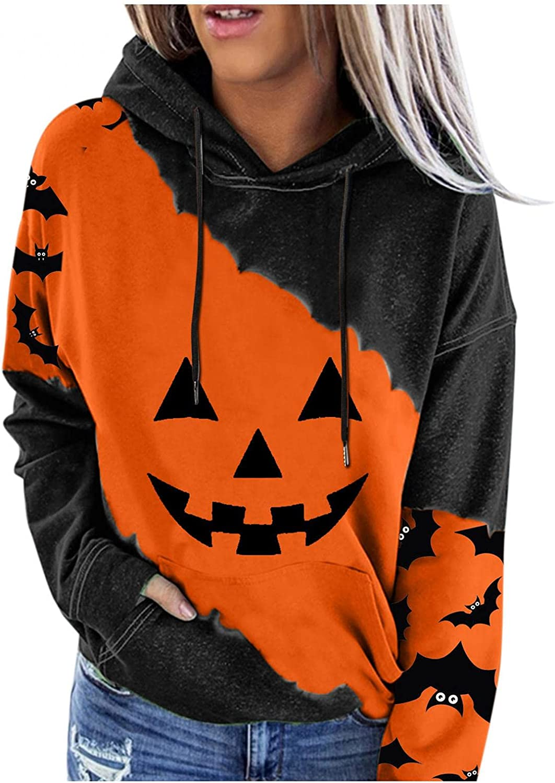 Jaqqra Halloween Hoodies for Women Pumpkin Printed Drawstring Sweatshirts Long Sleeve Shirts Loose Hooded Pullover Tops
