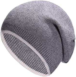 Cashmere Knit hat Fashion White Side Warm hat Tide Street Casual hat WZXSMDY (Color : Gray, Size : One Size)