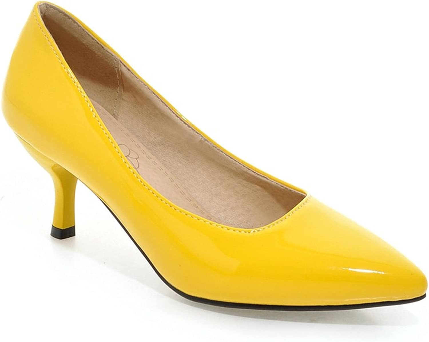 New Hot 8 color Glossy Women Nude Formal Pumps Big Size 12 30 48 Yellow bluee Red Green Med Heels Sexy Lady Wedding shoes