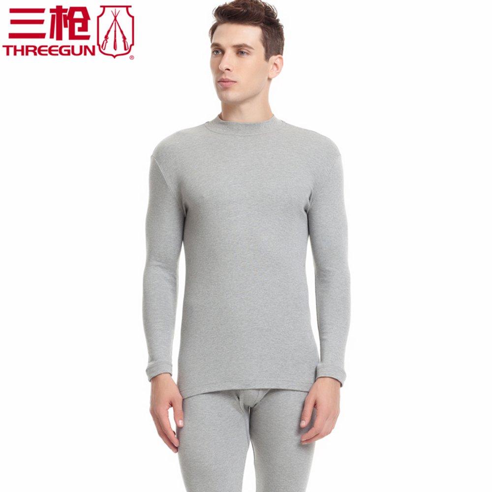 三枪 男纯棉保暖内衣套装半高领秋衣秋裤男士21841