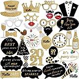 AIYANG 35 accesorios para fotos de Año Nuevo 2021, decoraciones de Año Nuevo Negro Oro Fuegos...