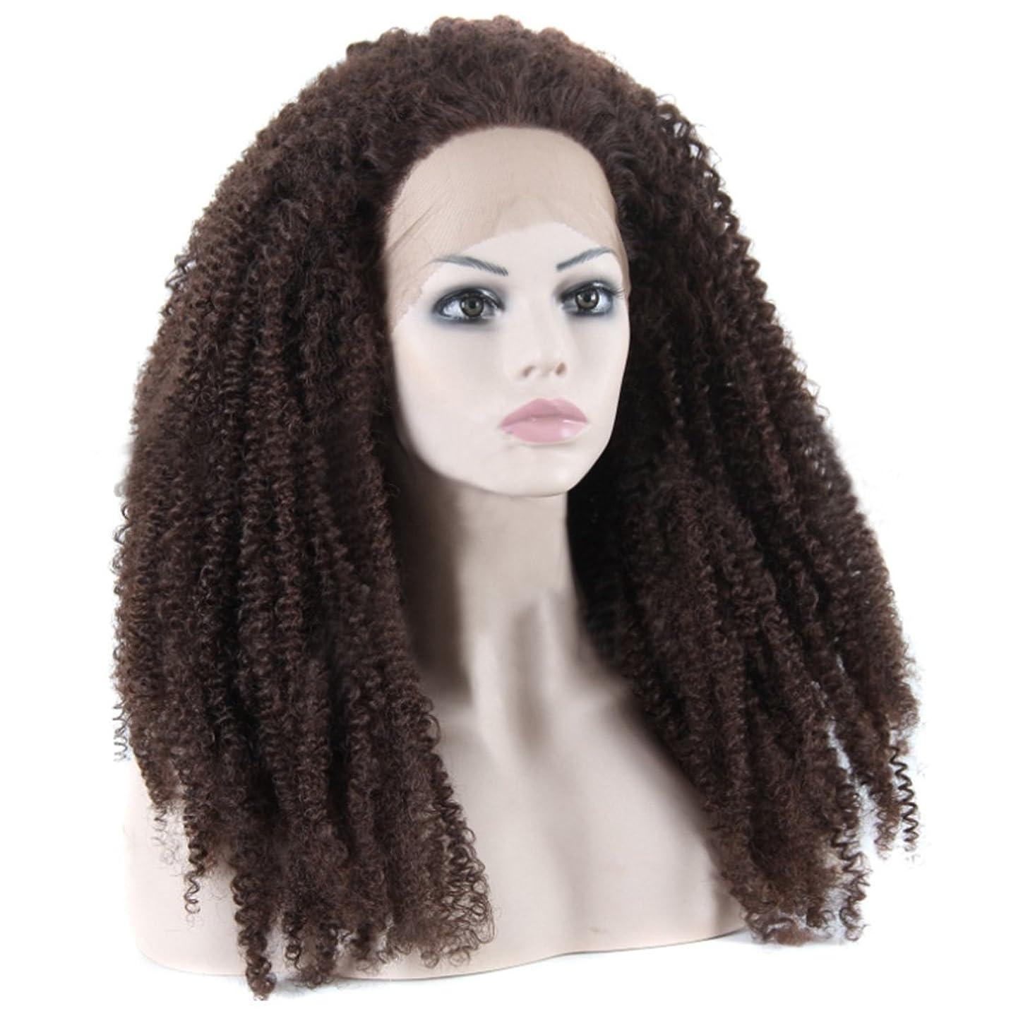 そこから留め金尋ねるDoyvanntgo 女性用ロングウィッグレースフロントヘアアフリカスモールロールウィッグナチュラルブラックとブラウンカーリーウィッグフルハンドウィービングヘア320g (Color : Black and brown)