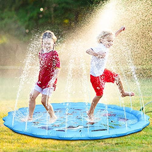 Fostoy Tappetino per Giochi d Acqua, 170cm Giochi d Acqua Giardino Sprinkle Splash Mat Giocattolo Estivo all Aperto per Bambini Neonati Spiagge Giardino attività