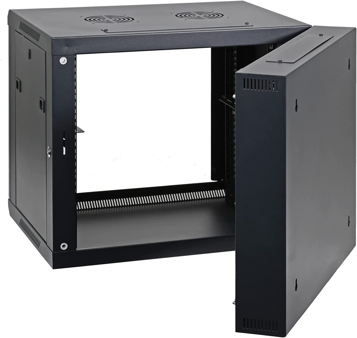 AEONS 9U Professional Wall Mount Server Cabinet Enclosure Double Section Hinged Swing Out 19-Inch Server Network Rack with Locking Glass Door Black (Fully Assembled)