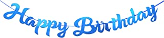 Blue Shiny Happy Birthday Banner, Pre-Strung Elegant Handwriting Letter, Mirror Glitter Alphabet Happy Birthday Sign, Bunting Banner, Birthday Party Decorations Supplies